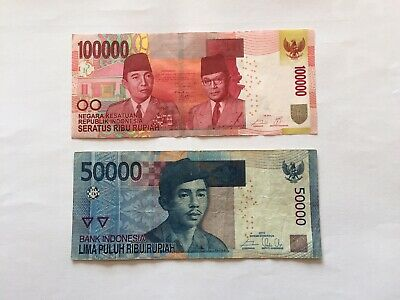 Circulated IDR 50k And 100k Denomination Bank Notes. Ideal For Collection.