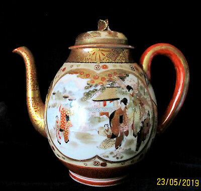 Vintage  JAPANESE  Kutani Teapot   19cm or 7.5 inches High    Great Condition