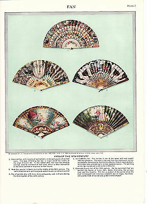 Fans of the 18th Century. Scarce Informative Print circa 1930s