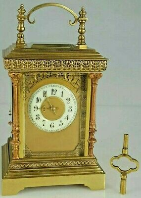 Rare L.F Paris  Bronze Large case Striking Carriage Clock Engraved fret panels