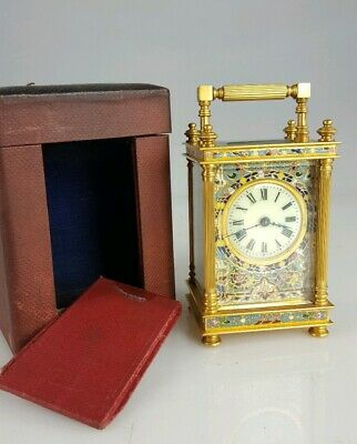 Antique French Ormolu & Champleve Carriage Clock Platform Escapement