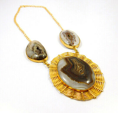 Window Druzy Agate Gold Plated Necklace Fashion Jewelry Festival Gift A1012
