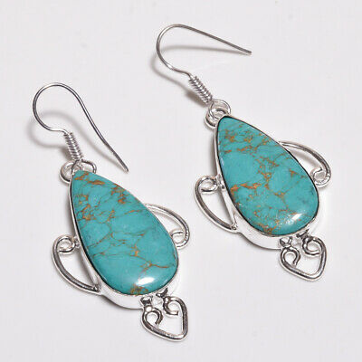 Copper Turquoise .925 Silver Plated Handmade Earring Jewelry P74