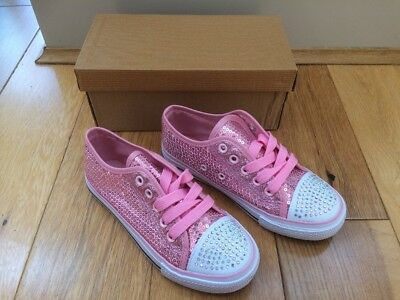 New Boxed Girls Shoes Size 1 PinkGlitter Sequins Boxed Diamanté Studs Holiday