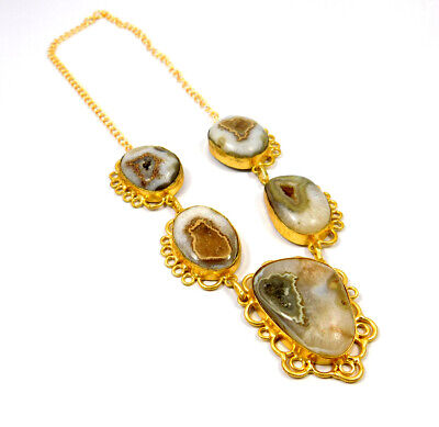 Window Druzy Agate Gold Plated Necklace Fashion Jewelry Festival Gift A1019