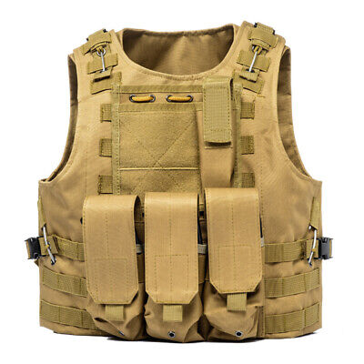 Tactical Vest Adjustable Molle Military Jacket Plate Holder Airsoft with Pouches