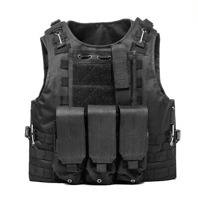 Hunting Military Paintball Molle Tactical Plate Carrier Vest Airsoft Black Vest