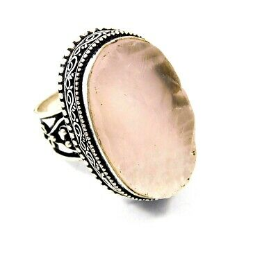 Lovely Rose Quartz Silver Hand Carving Jewelry Ring Size 8 JC3272