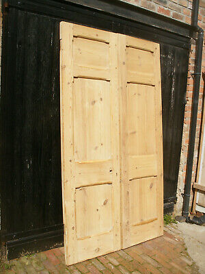 Pair of large reclaimed Victorian stripped pine exterior doors