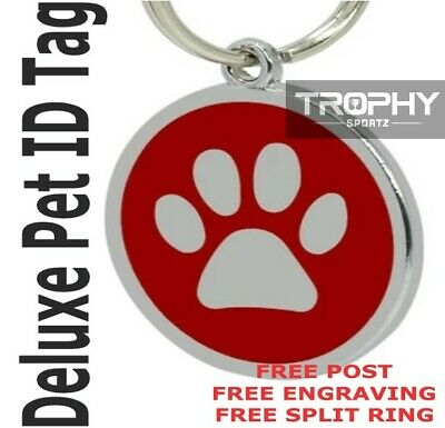 Deluxe DOG PET ID TAG 30mm RED puppy paw FREE Personalised Engraved Shire Rego