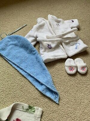 American Girl Doll Of Today Spa 4 Piece Spa Set Bathrobe Headwrap Slippers EUC