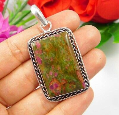 Ruby Zoisite  .925 Silver Plated Handmade Designer Pendant Jewelry JC3743