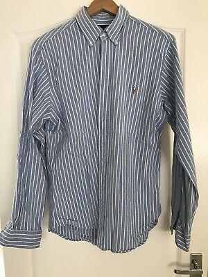 Polo Ralph Lauren Mens Slim Fit Oxford Shirt Size Large Blue And White Striped