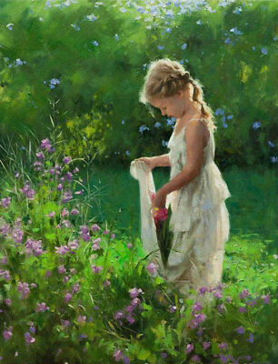 CHENPAT413 lovely little girl picking art flowers landscape oil painting canvas