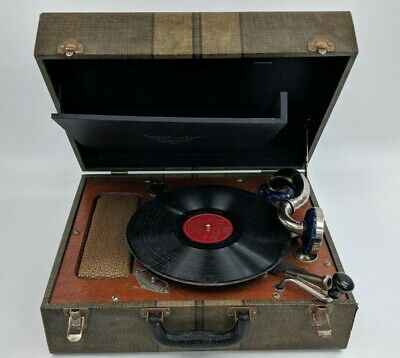 Vintage RCA Victor Victrola Phonograph Portable Suitcase Disc Record Player