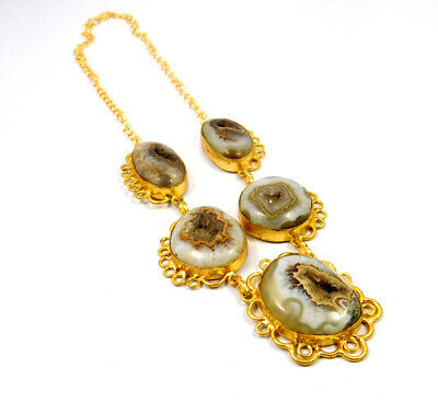 Window Druzy Agate Gold Plated Necklace Fashion Jewelry Festival Gift A1018
