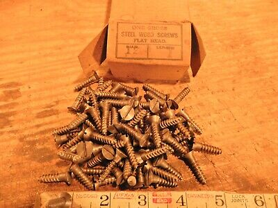 antique wood screws flat head slotted fastener 1 in. x # 12 QTY. 82  vintage lot