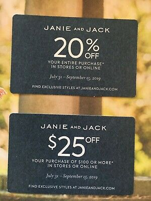 Janie & Jack 20% Off & $25 Off $100 Coupon Exp 9/15/2019 online in-store