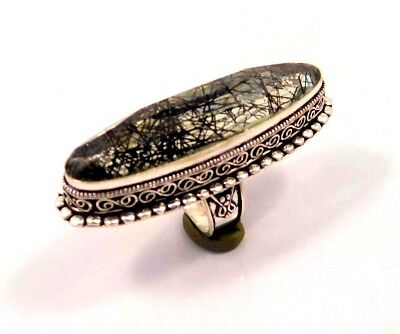 Black Needle Rutile .925 Silver Plated Handmade Ring Size-7 Gift JC6746