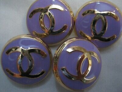 CHANEL 4 PURPLE BUTTONS lot of 4 sz 17mm gold metal  cc logo, 4
