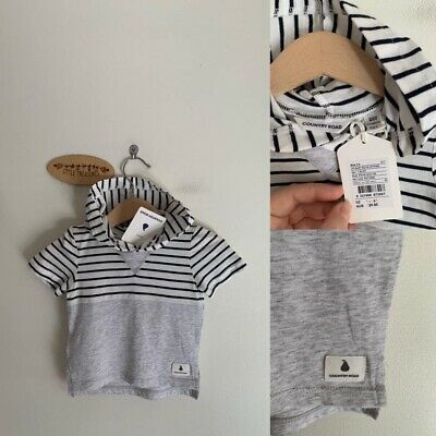 Sz 000 Country Road Stripe Hooded Tee
