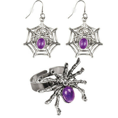 Spider Ring and Earrings Silver Purple Fancy Dress Accessory