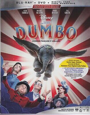 DISNEY DUMBO (2019) BLURAY & DVD & DIGITAL SET with Colin Farrell & Tim Burton