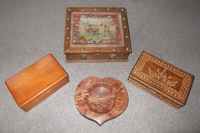 x4 VINTAGE WOODENWARE ITEMS - 3 BOXES, 1 CARVED BURR DISH -1 FABRIC TOPPED/STUDS