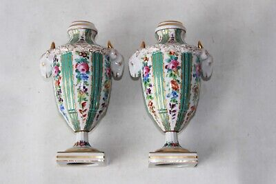 pair sevres French France porcelain pottery vases signed marked antique 19th c