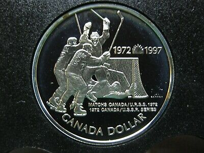 1997 25th Anniversary of Canada/USSR Summit Series The Goal Canadian Silver Coin
