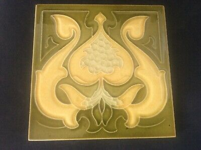Antique c19th Art Nouveau Majolica Tubelined Tile c1890 Fireplace Maker Unknown2