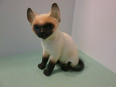 Vintage Napco Blue Eyed Siamese Cat Kitten Figurine Adorable