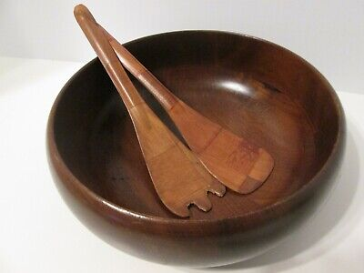"Margaret Studios Round Wooden Bowl 9""  Murphy, NC USA wood Salad Bowl Vintage"