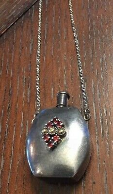 Vintage Sterling Silver Garnet Perfume Necklace