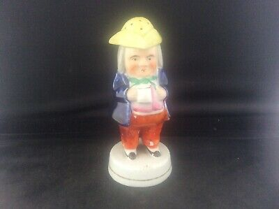 """Antique c19th Victorian Staffordshire Pottery Toby Jug Pepperette 5.75"""" tall No2"""