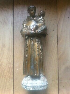 Antique French DSR Spelter Statue c1880 St Anthony of Padua Lisbon Baby Jesus 8""