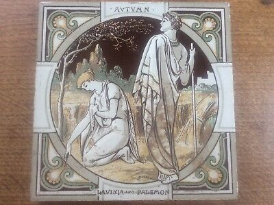 Rare c19th Moyr Smith Signed Mintons Tile Autumn Lavinia Palemon Thomson Seasons