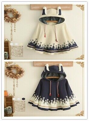 Kawaii Coat Hoodie Outwear Spring Fall Cape Girls Rabbit Ears Loose Thicken