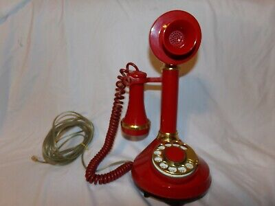 Vintage Art Deco Retro 1973 Western Electric Red & Brass Candlestick Telephone