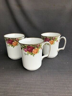 ROYAL ALBERT OLD COUNTRY ROSE TALL MUGS X 3.  1st Quality Excellent