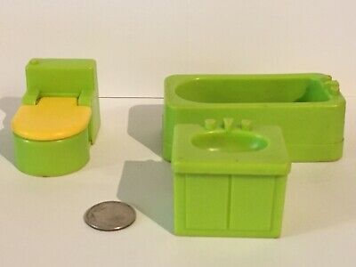 725 BATH & UTILITY Vintage Fisher Price Little People TUB SINK TOILET Green