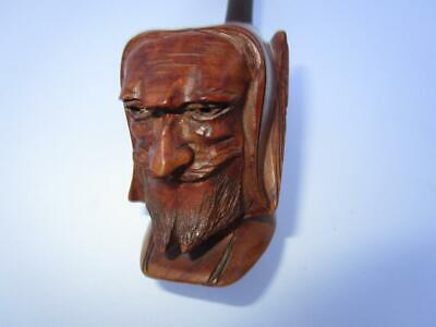 Vintage Antique Hand Carved Burl Wood St Bede Monk Face Smoking Tobacco Pipe