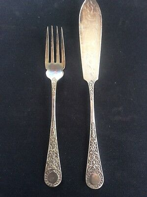 Antique Engraved Silver Plate EPNS Sheffield Fish Knife & Fork Flatware Cutlery