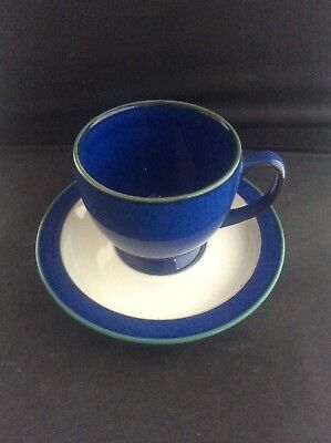 Denby Stoneware Pottery Blue Metz Tea Cup & Saucer Lovely Condition