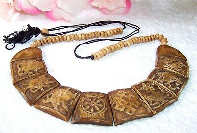 Vintage Asian Jewelry Necklace Chinese Characters Symbols Hand Carved Lacquer