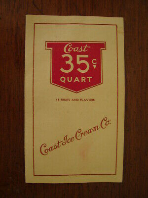 Old Vintage 1930's Menu Coast Ice Cream Co Store Shop Parlor Los Angeles Ca