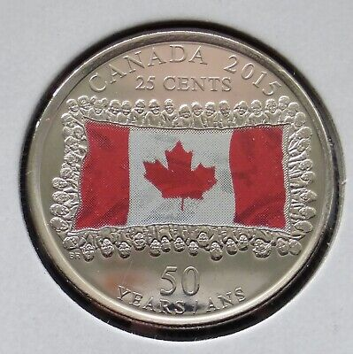 CANADA 25 CENT 2015 CANADIAN FLAG COLOR - 50th ANNIVERSARY - MS