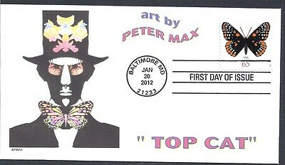 PETER MAX  TOP CAT  CATS AS THE EYES -  BUTTERFLY BOW TIE    FDC- DWc  CACHET