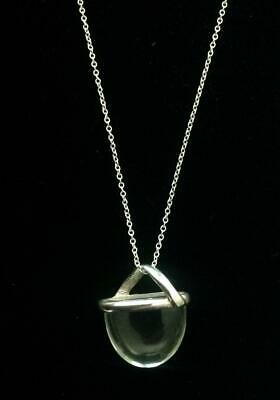 Sterling Silver Clear Crystal Quartz Amulet Pendant Necklace Protect Good Luck