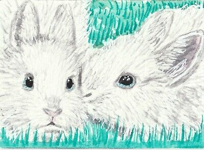 white bunny rabbits watercolor ACEO original painting
